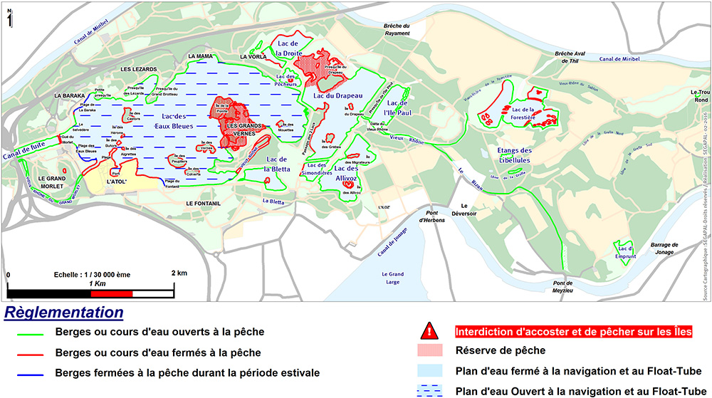 Map of the areas where fishing is allowed (lakes and waterways of the Grand Parc Miribel Jonage)
