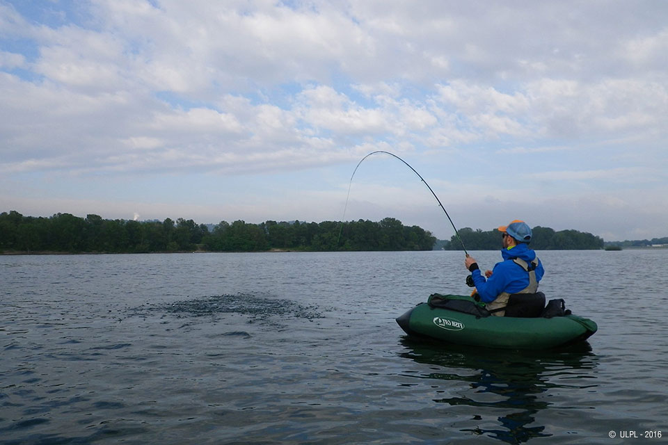 Fishing on the lake of the Eaux Bleue